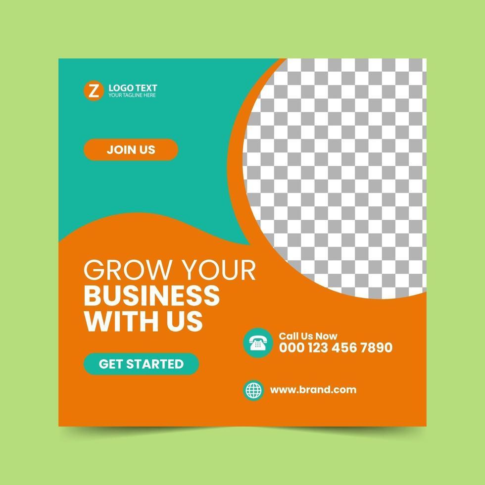 plantilla de diseño de publicación de redes sociales naranja vector