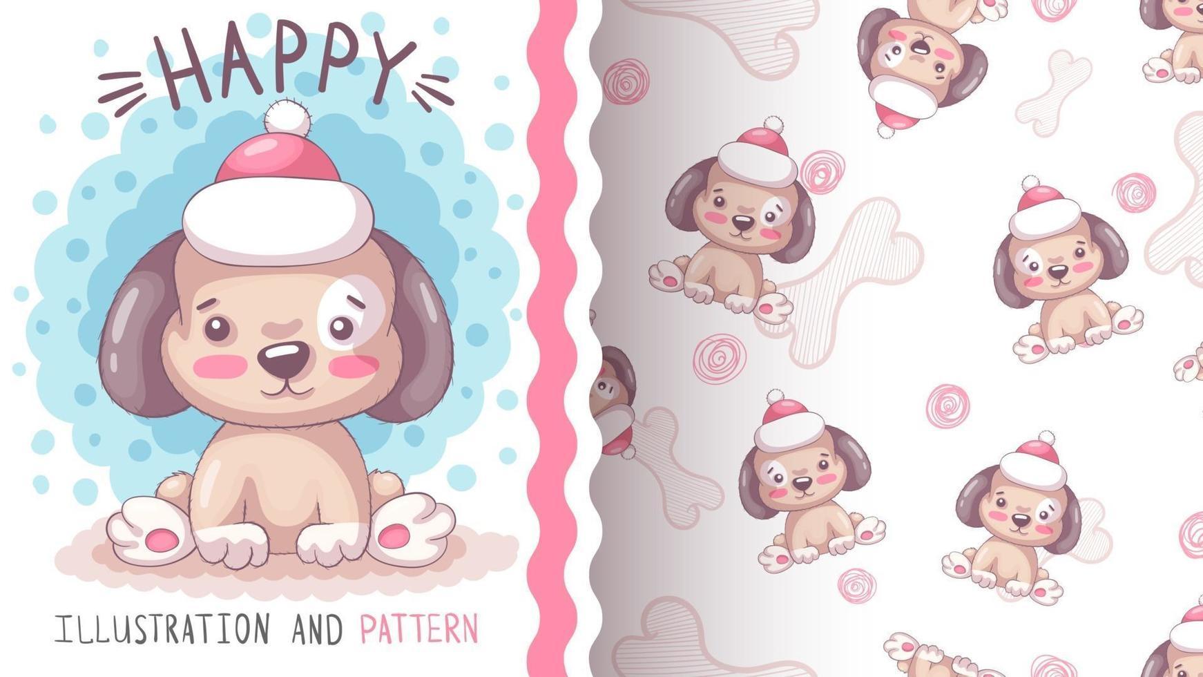 Lindo perro personaje de dibujos animados de animales infantiles - patrón sin costuras vector