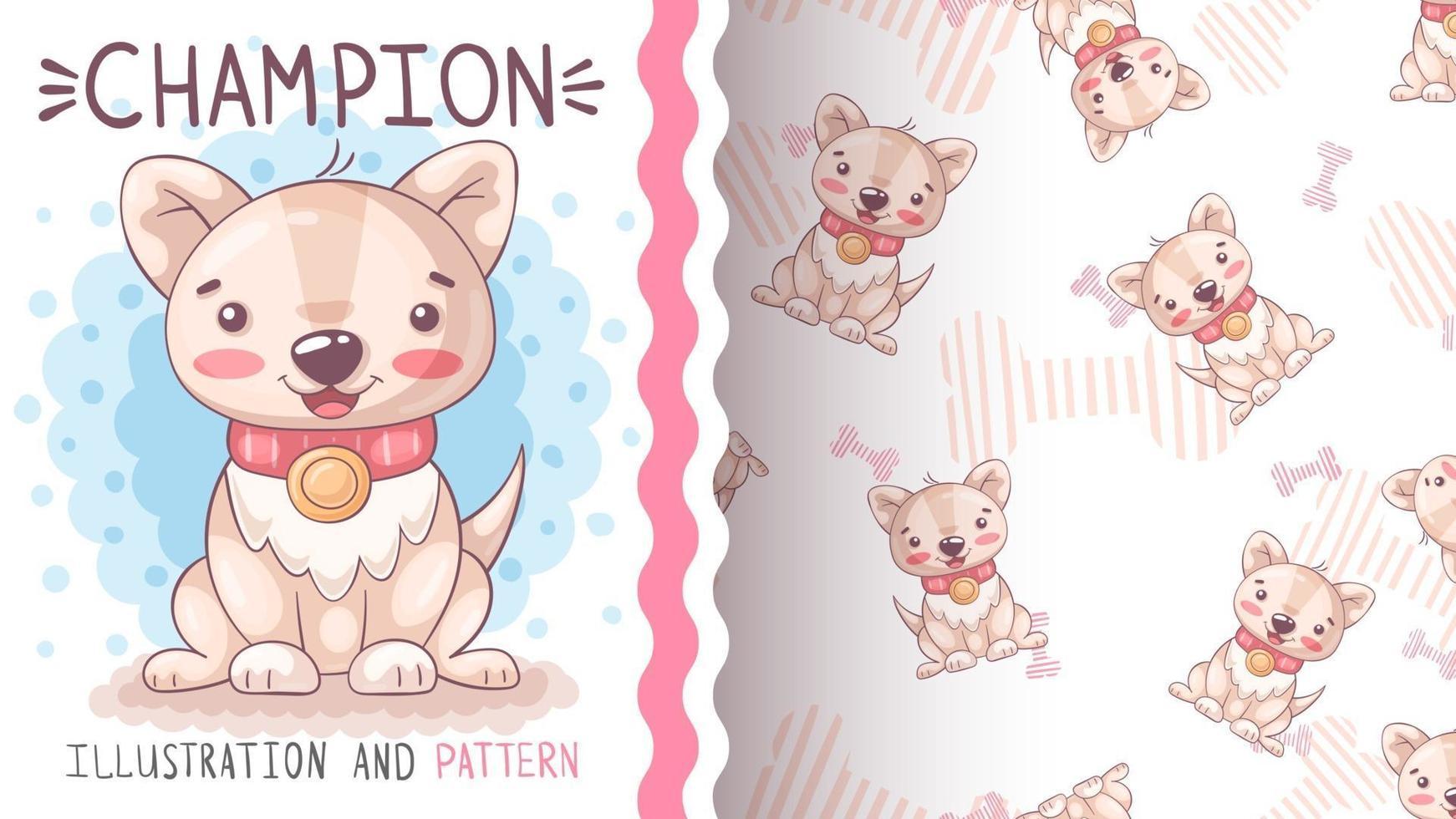 Perro de personaje de dibujos animados divertido con corazón - patrón sin costuras vector