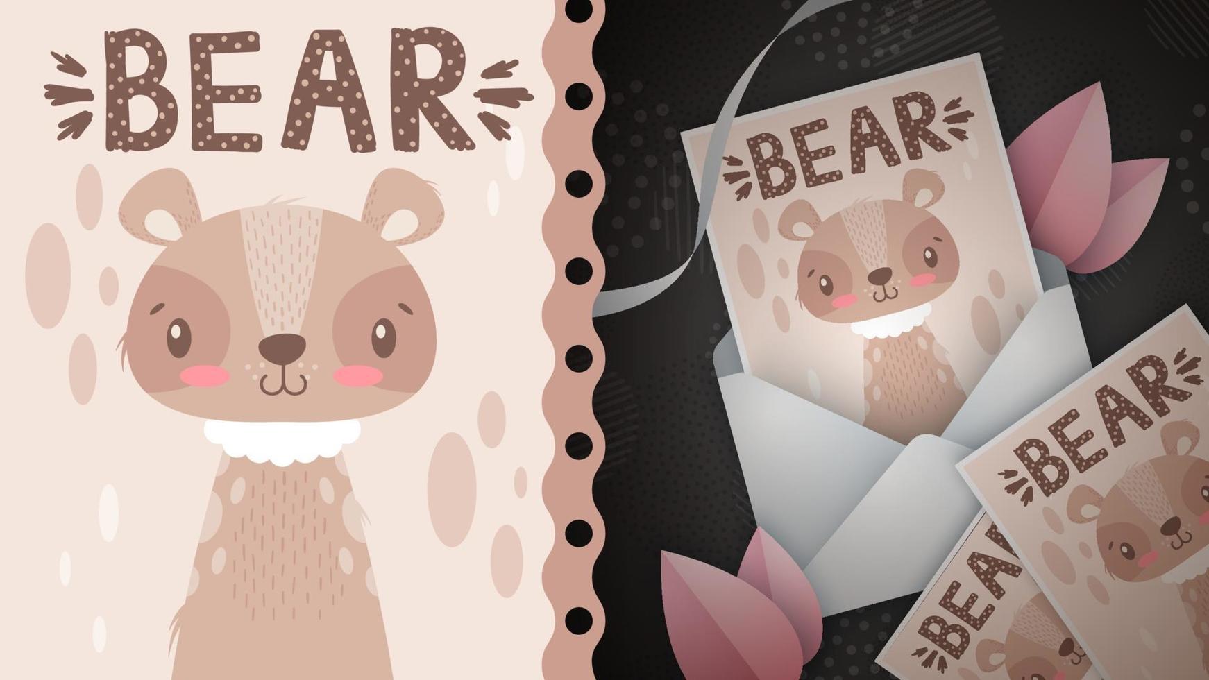 ilustración de oso animal de personaje de dibujos animados infantil vector