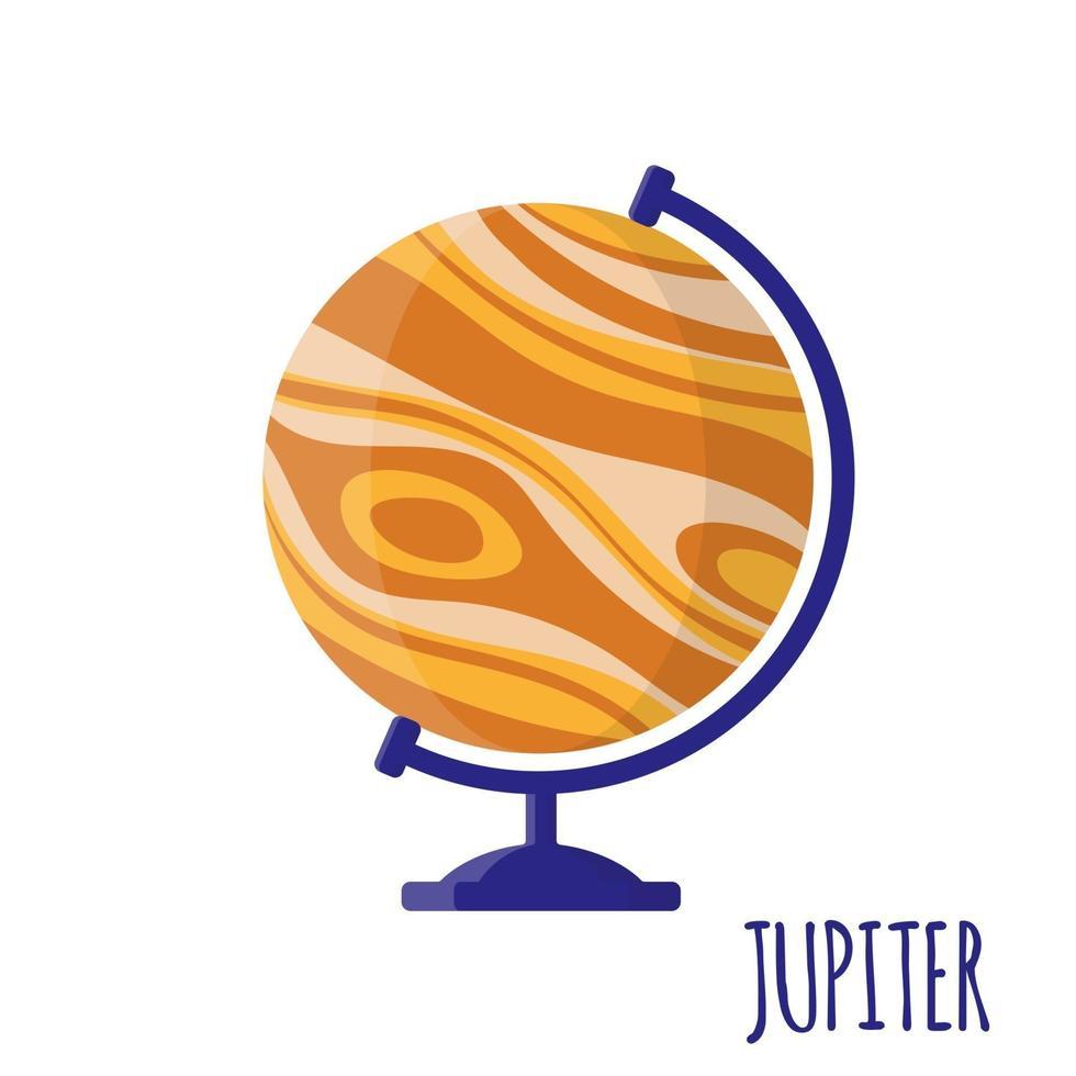 Ilustración de dibujos animados de vector con globo de Júpiter de escuela de escritorio aislado sobre fondo blanco.