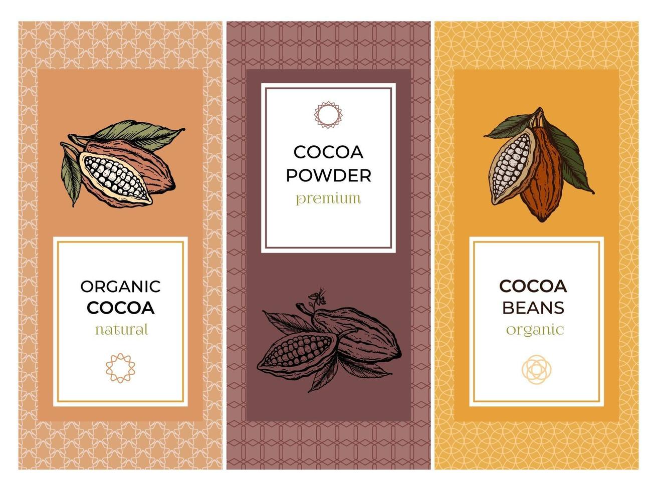 Cocoa packaging design templates set with pattern. Engraved style sketch hand drawn illustration. Cacao powder, beans, nuts, seeds, flowers and leaves vector. vector