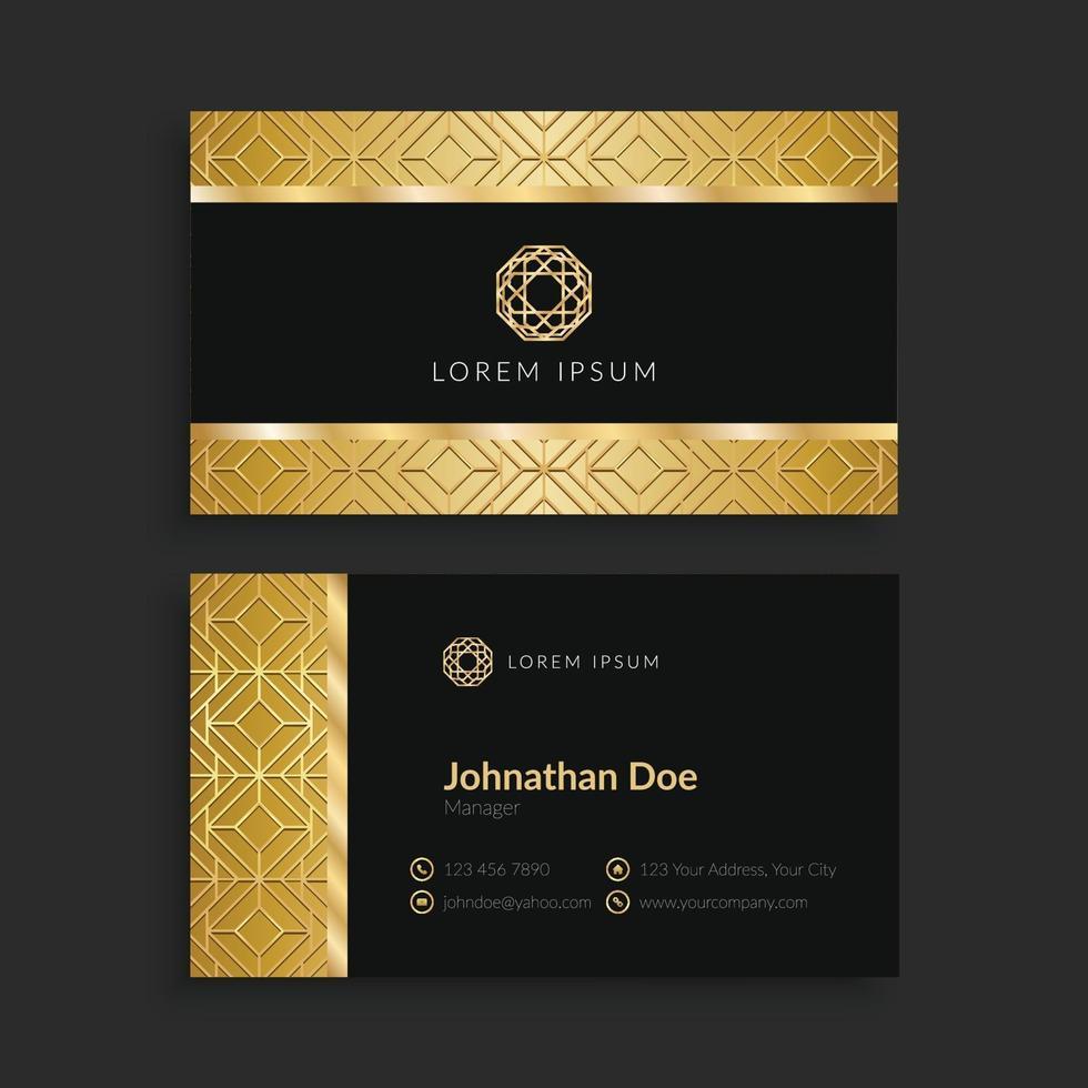 plantilla de tarjeta de visita geométrica dorada de lujo vector