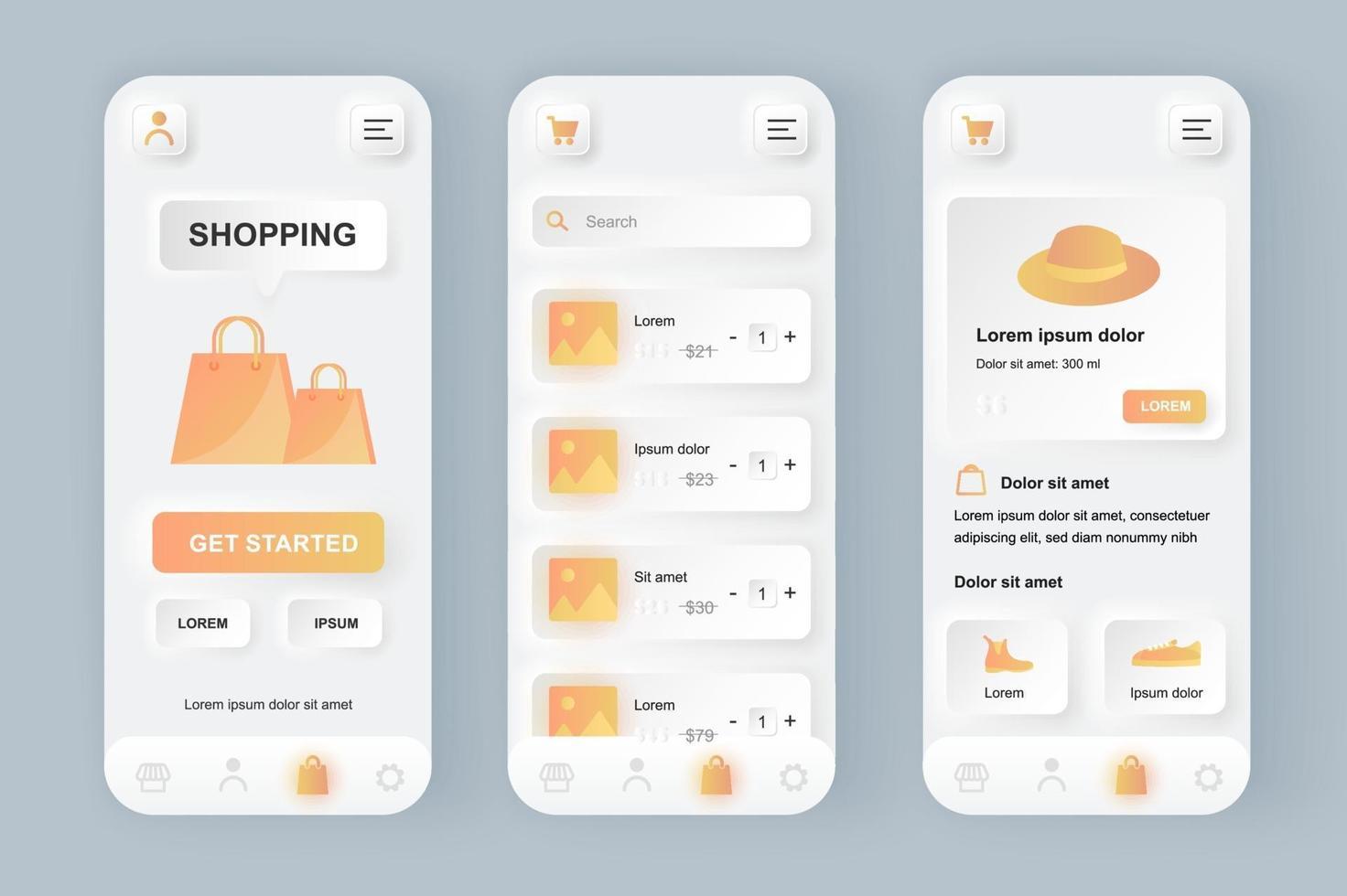 Online shopping unique neomorphic mobile app design kit vector