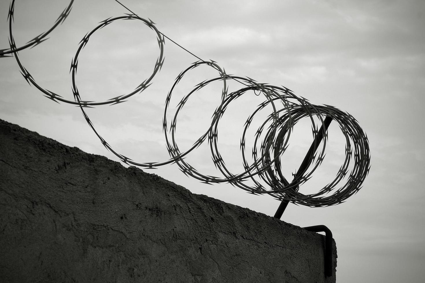Barbed wire on the wall in black and white photo