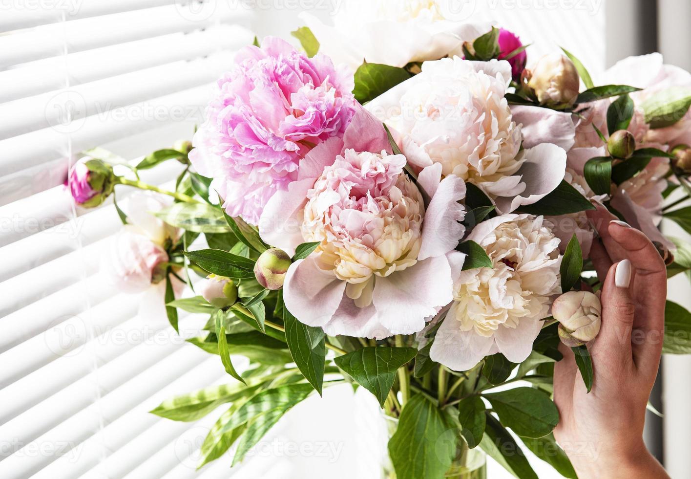 Hermoso ramo de peonía rosa en un jarrón. foto