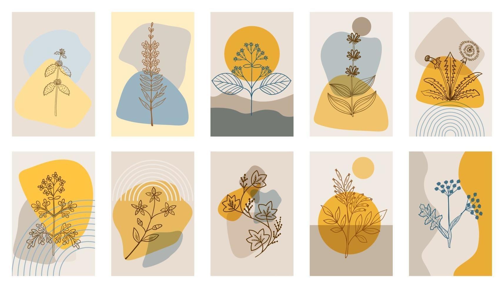 Hierbas amargas p1, cartel abstracto, set 1 vector