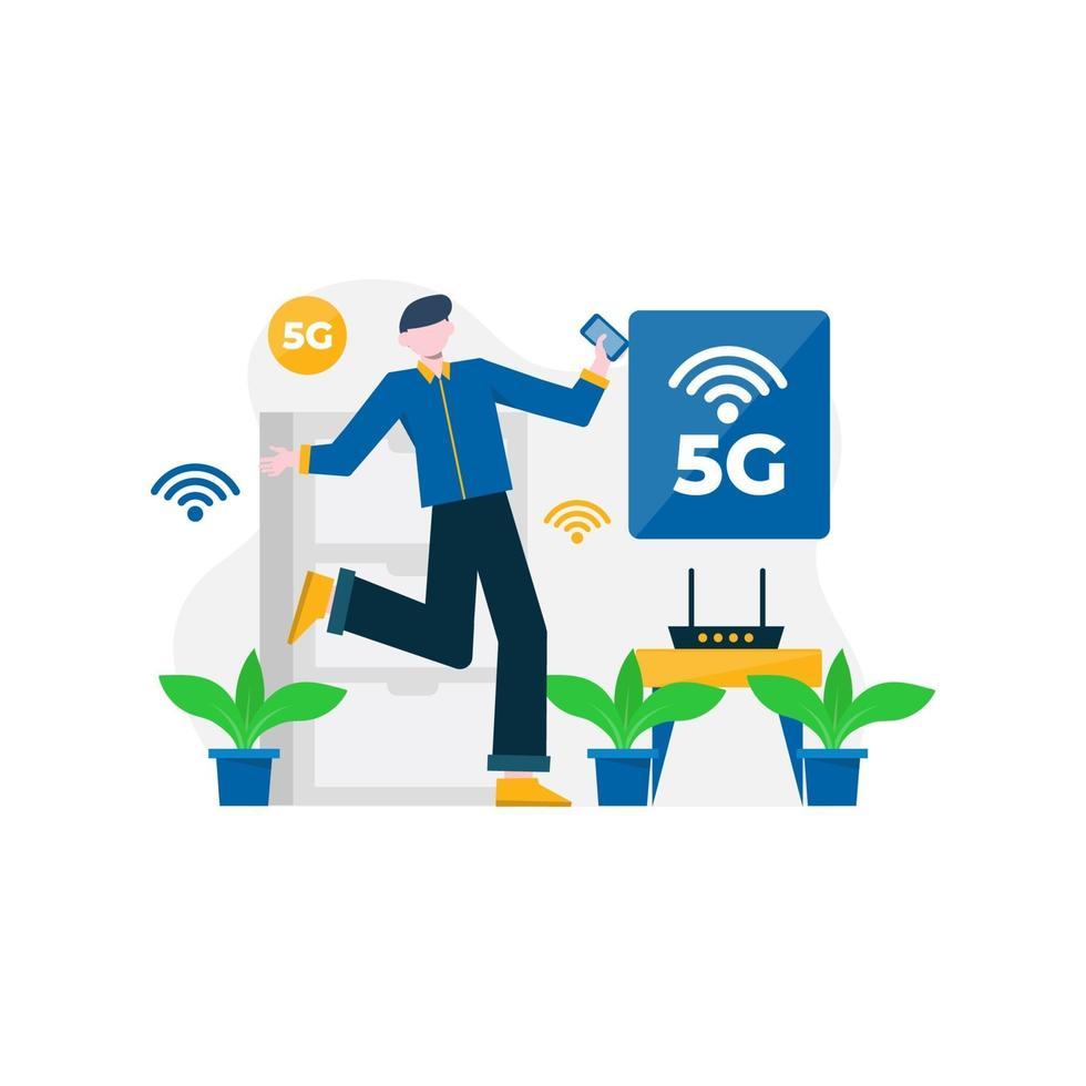 las personas disfrutan de los servicios 5g para comunicarse con teléfonos celulares y computadoras, ilustración vectorial, adecuados para la página de destino, la interfaz de usuario, el sitio web, la aplicación móvil, la editorial, el póster, el folleto, el artículo y el banner vector