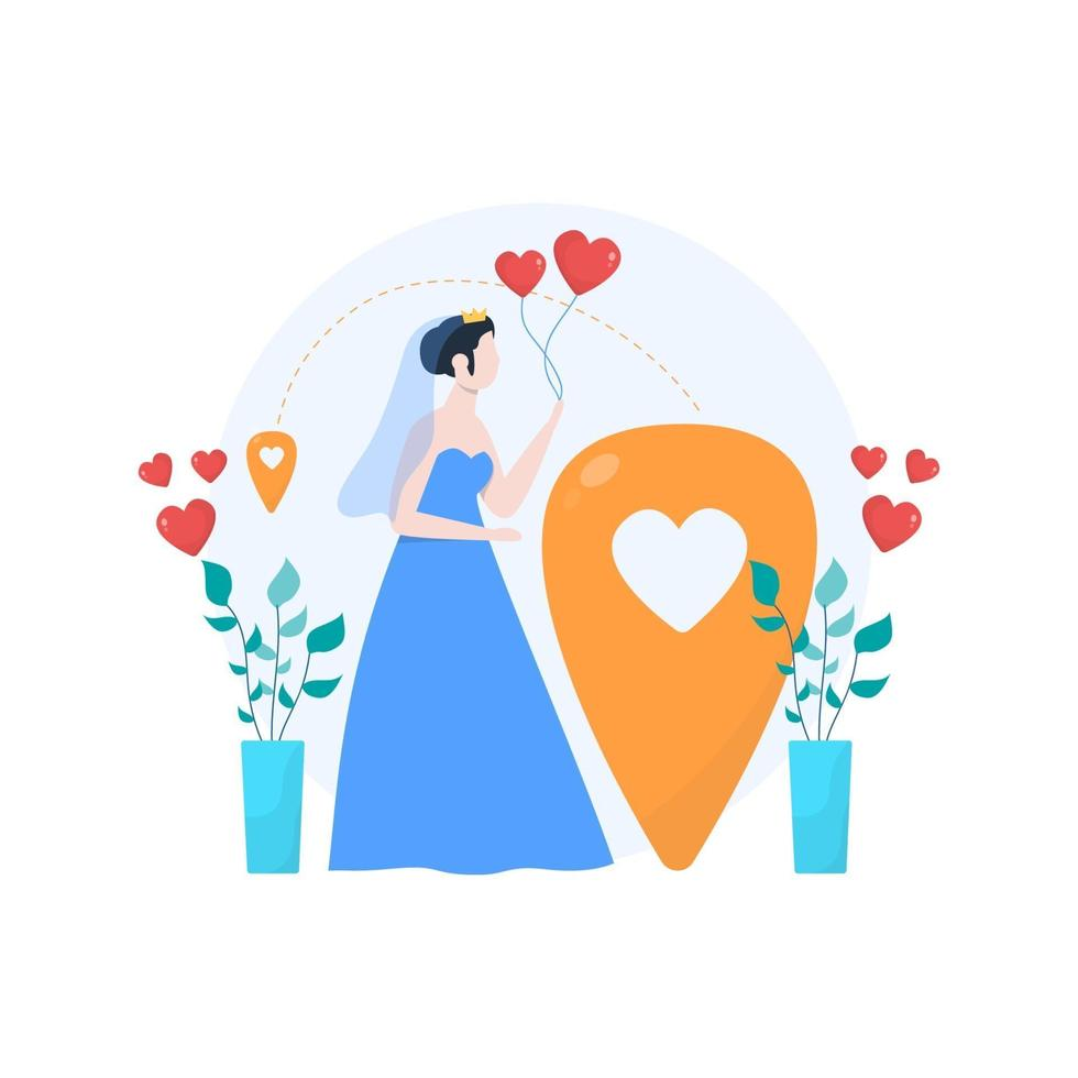 a couple is engaged and preparing to have a wedding vector illustration, suitable for landing page, ui, website, mobile app, editorial, poster, flyer, article, and banner