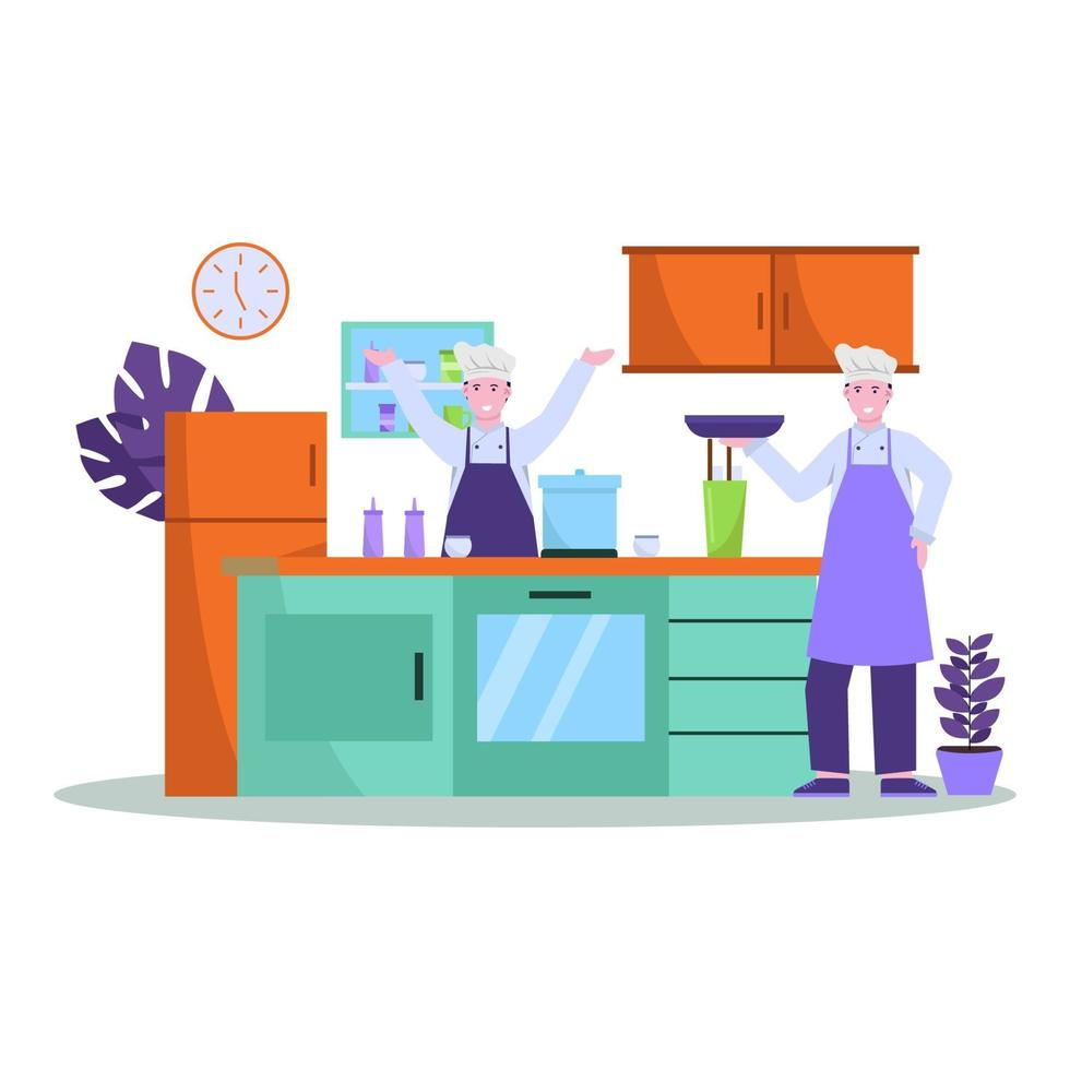 Flat vector illustration of chef prepares food well for shoppers in restaurants