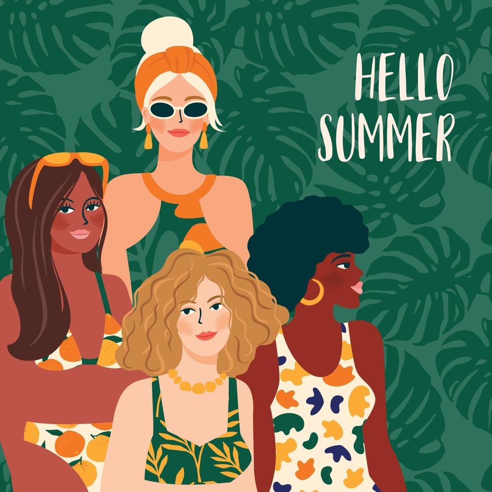 Vector illustration of woman in bright swimsuit. Young girls with different skin colors.