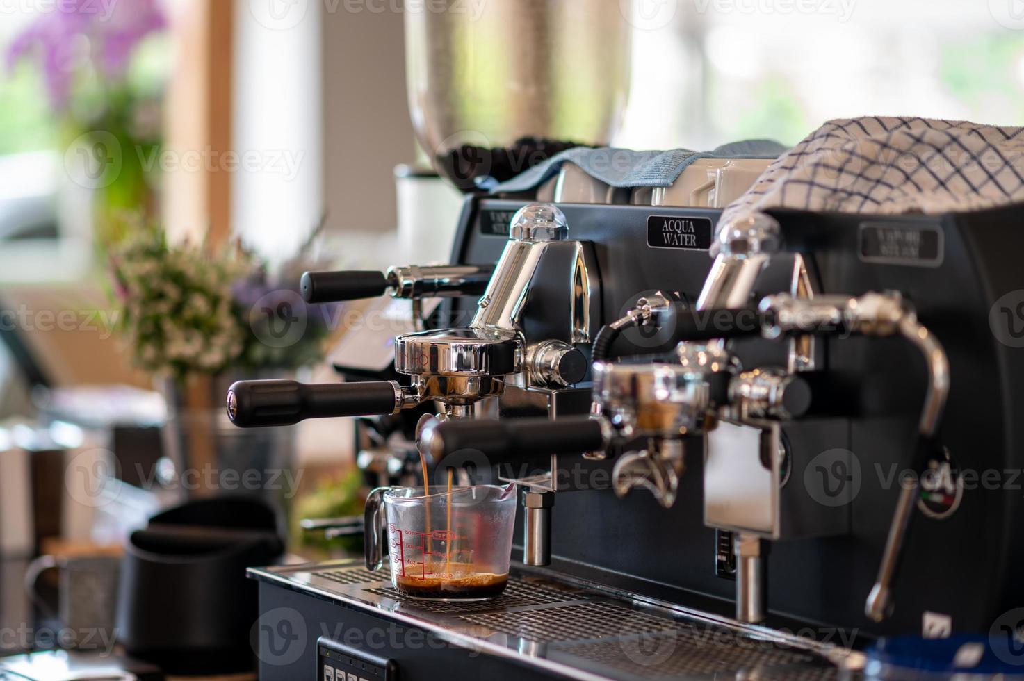Coffee machine making coffee photo