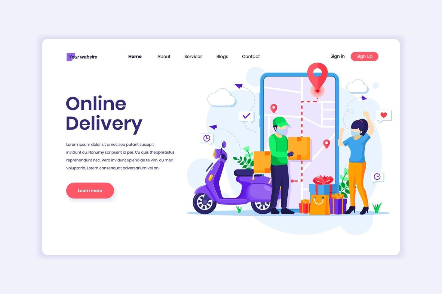 Landing page design concept of Online Delivery service with a Courier in uniform and a young woman with a medical mask. vector illustration