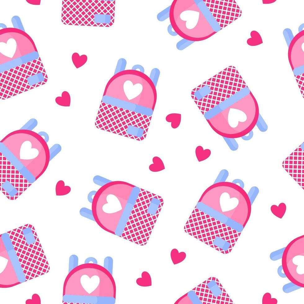 Seamless pattern of school backpack with heart for the wedding or Valentine's Day. vector