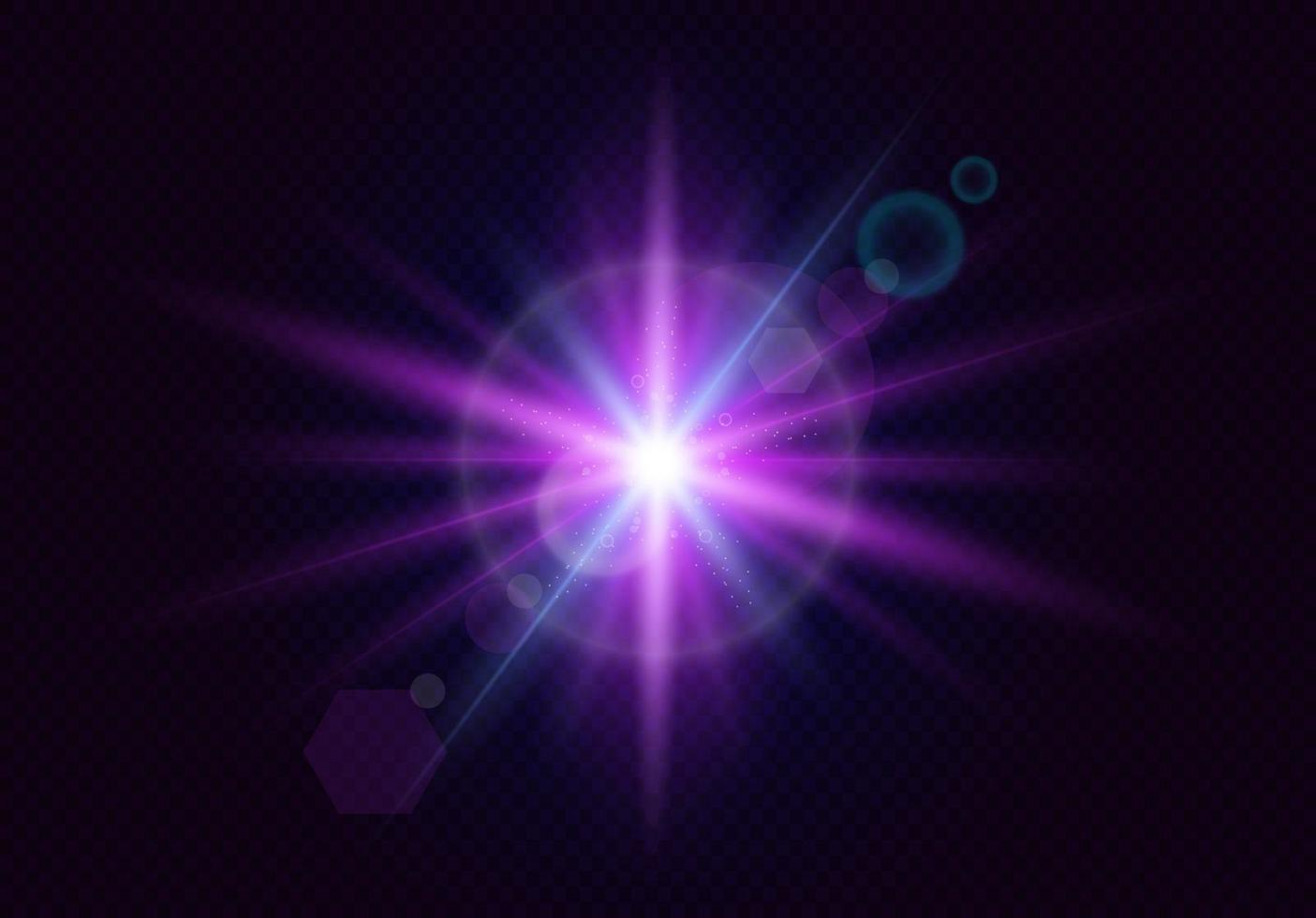 Glowing lens flares. Flash. Realistic light with rays. Vector illustration.