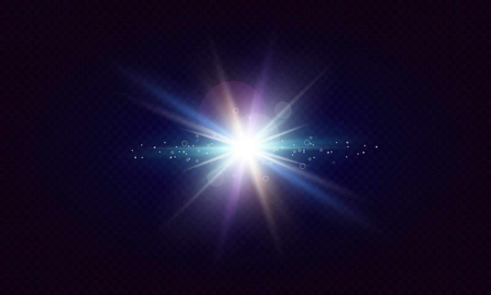 Glowing lens flares. Flash with colorful twinkle effect. Realistic light with rays. Vector illustration.