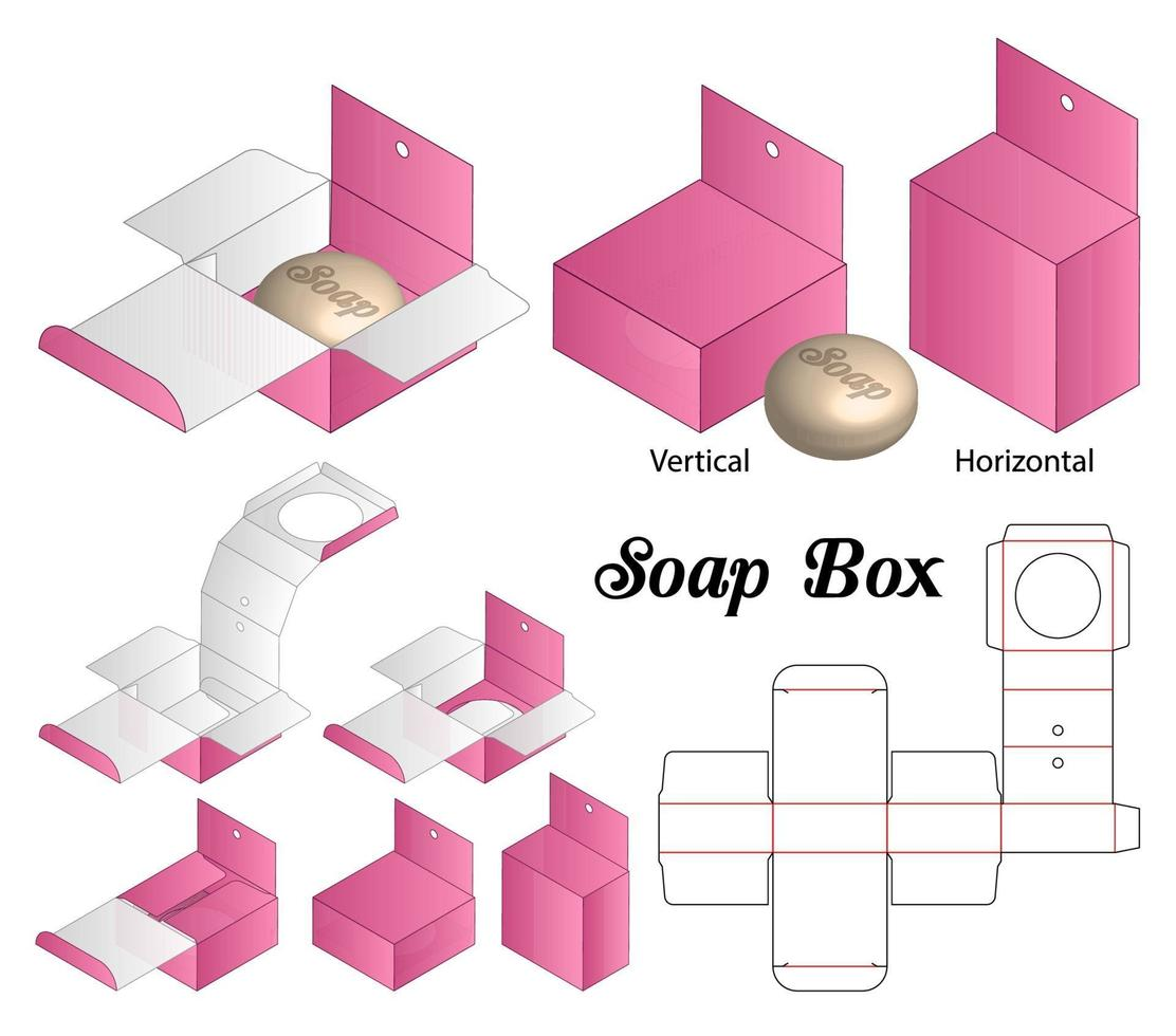 sleeve rigid box for soap mockup with die cut vector