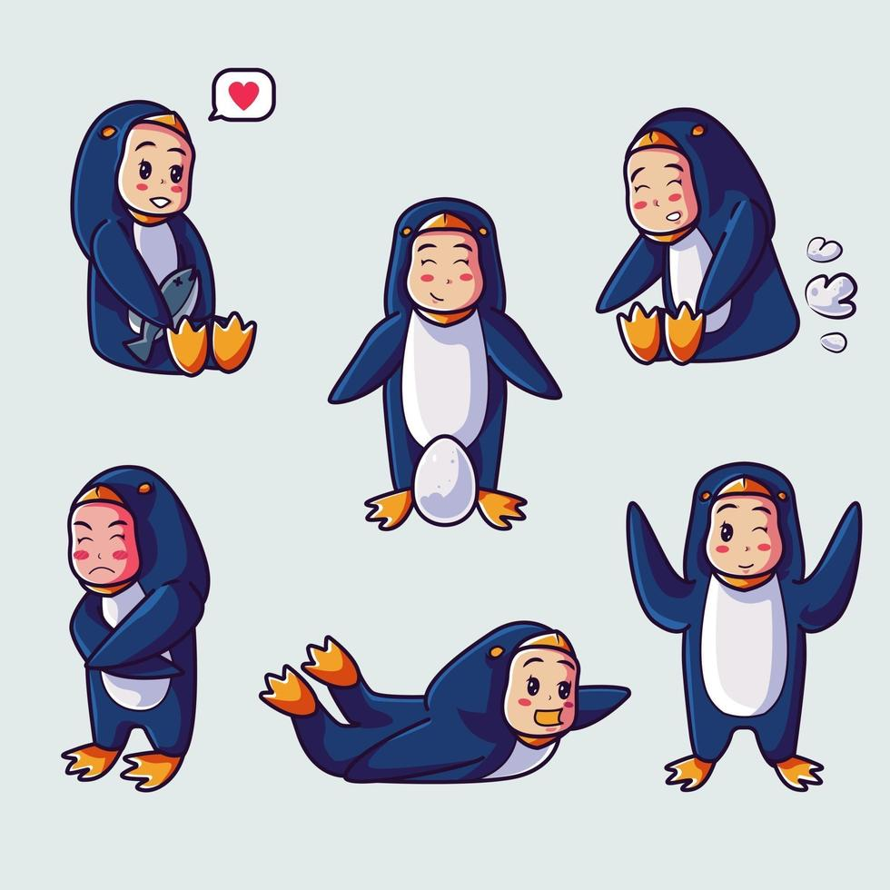 Cute kid wearing a penguin costume. Cartoon illustration vector