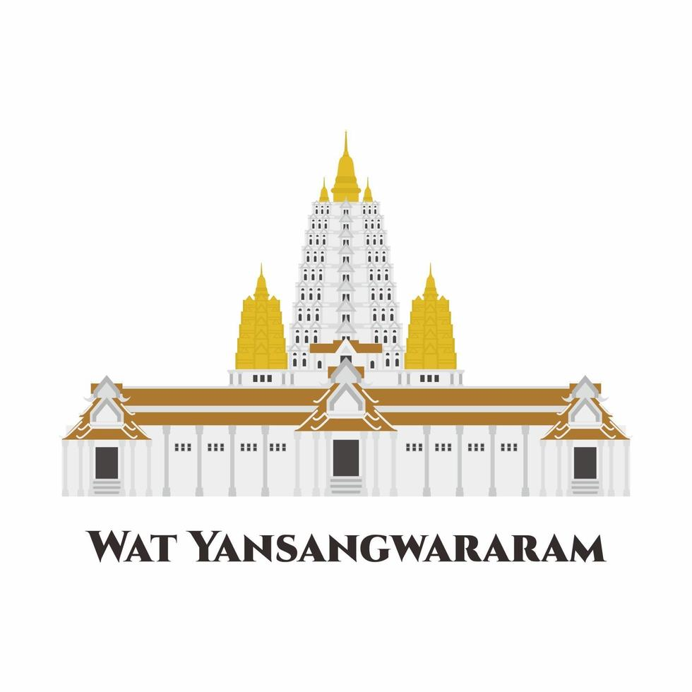 Wat Yan Sang Wararam, Thailand. Sprawling Buddhist temple complex in a picturesque setting with gardens and a large lake. One of the most impressive temples in Pattaya. It is great place to visit. vector