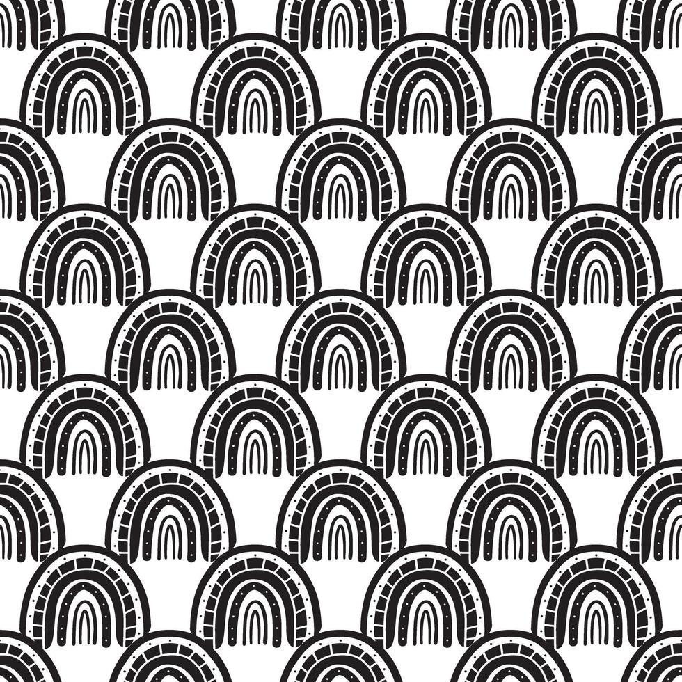 Boho rainbow black and white seamless pattern vector