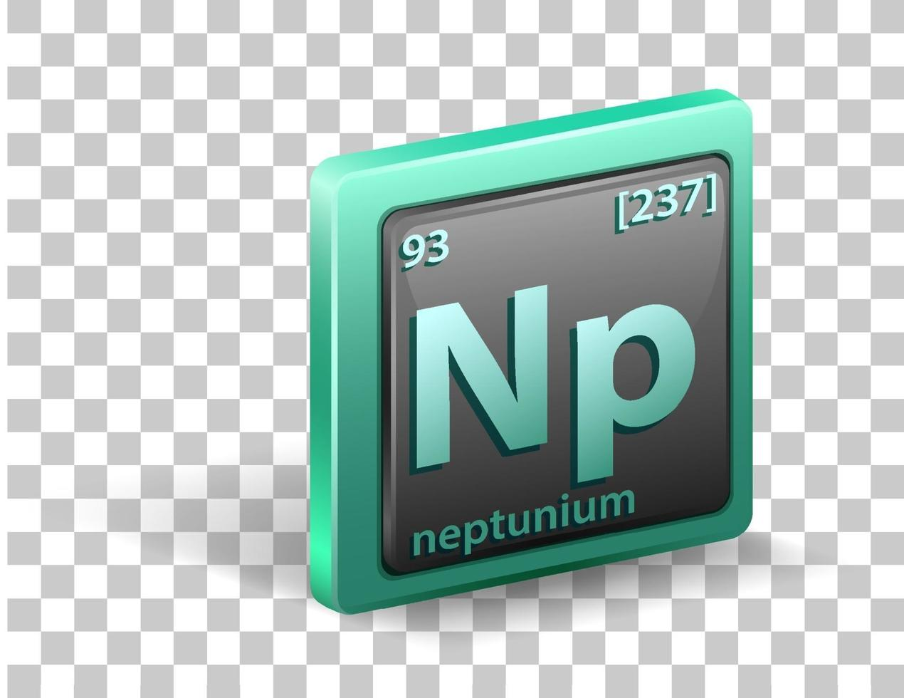 Neptunium chemical element Chemical symbol with atomic number and atomic mass vector