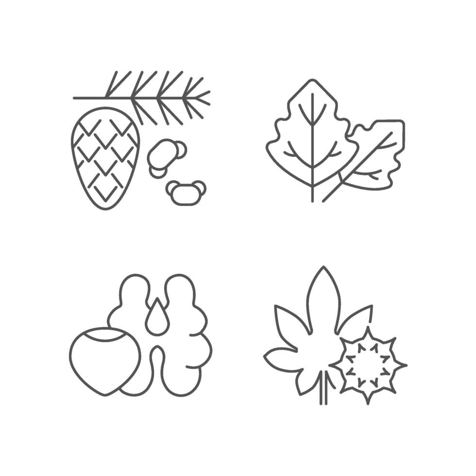 Cause of allergic reaction linear icons set vector