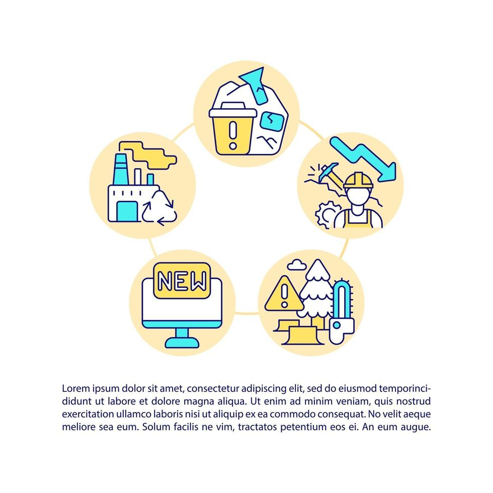 Decreased raw materials consumption concept line icons with text vector