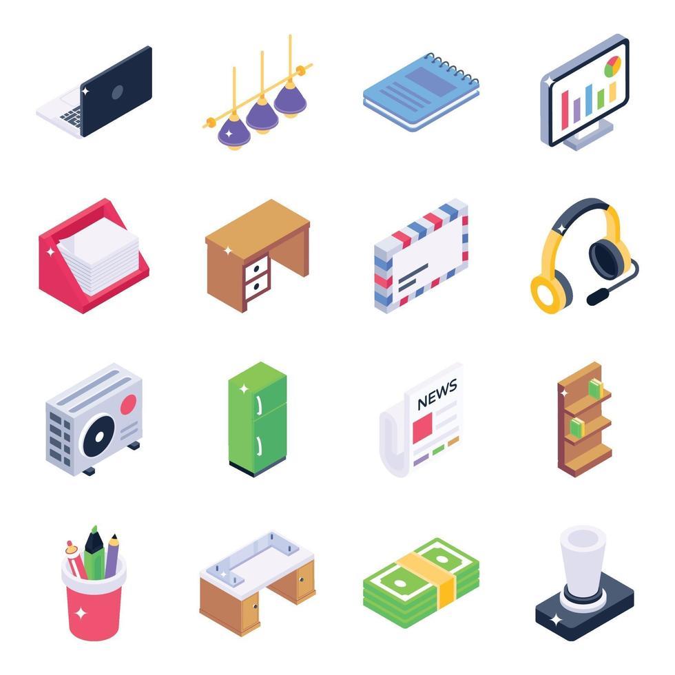 Office Equipment Isometric vector