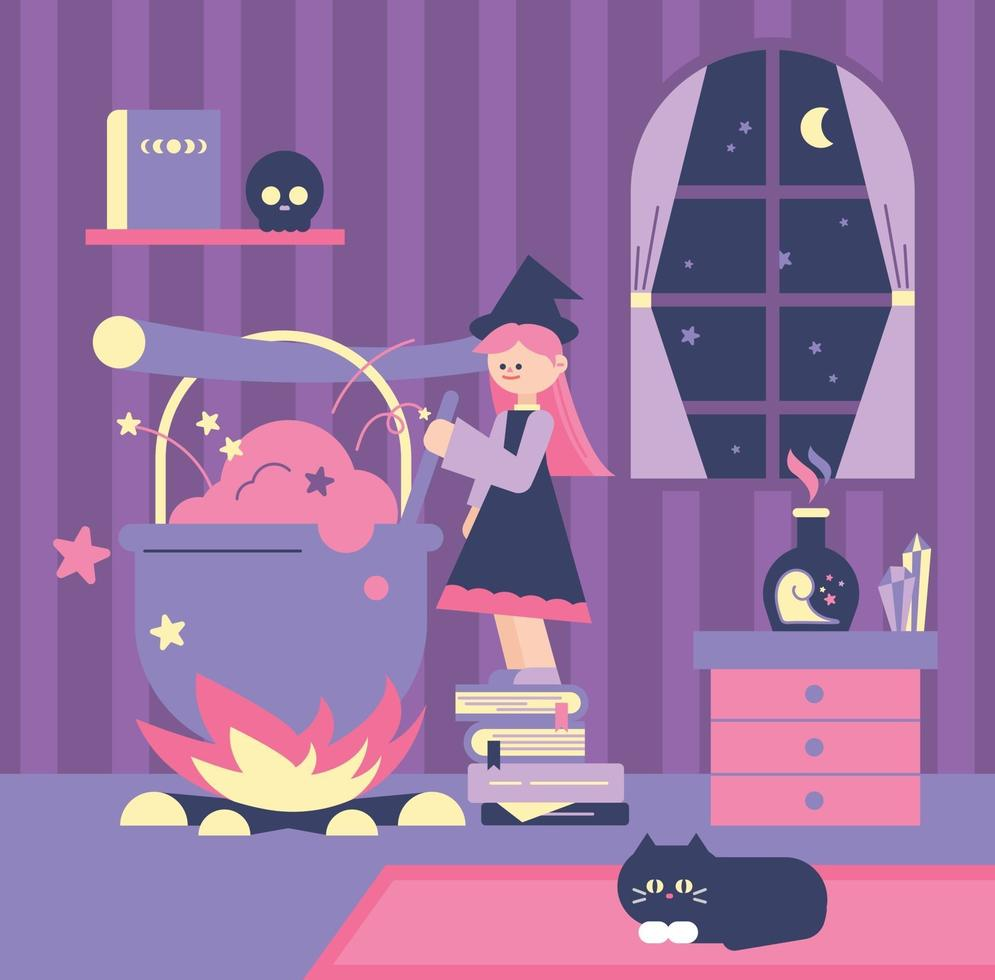 A cute witch is making a potion in a huge pot. flat design style minimal vector illustration.