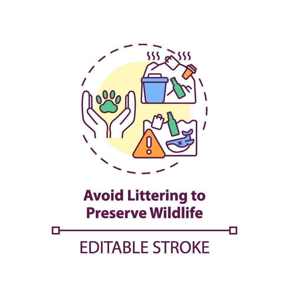 Evite tirar basura para preservar el icono del concepto de vida silvestre vector