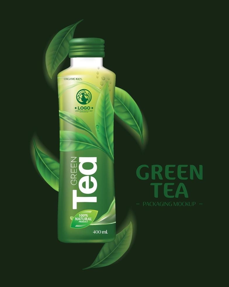 Green Tea Drink Packaging MockupFood vector