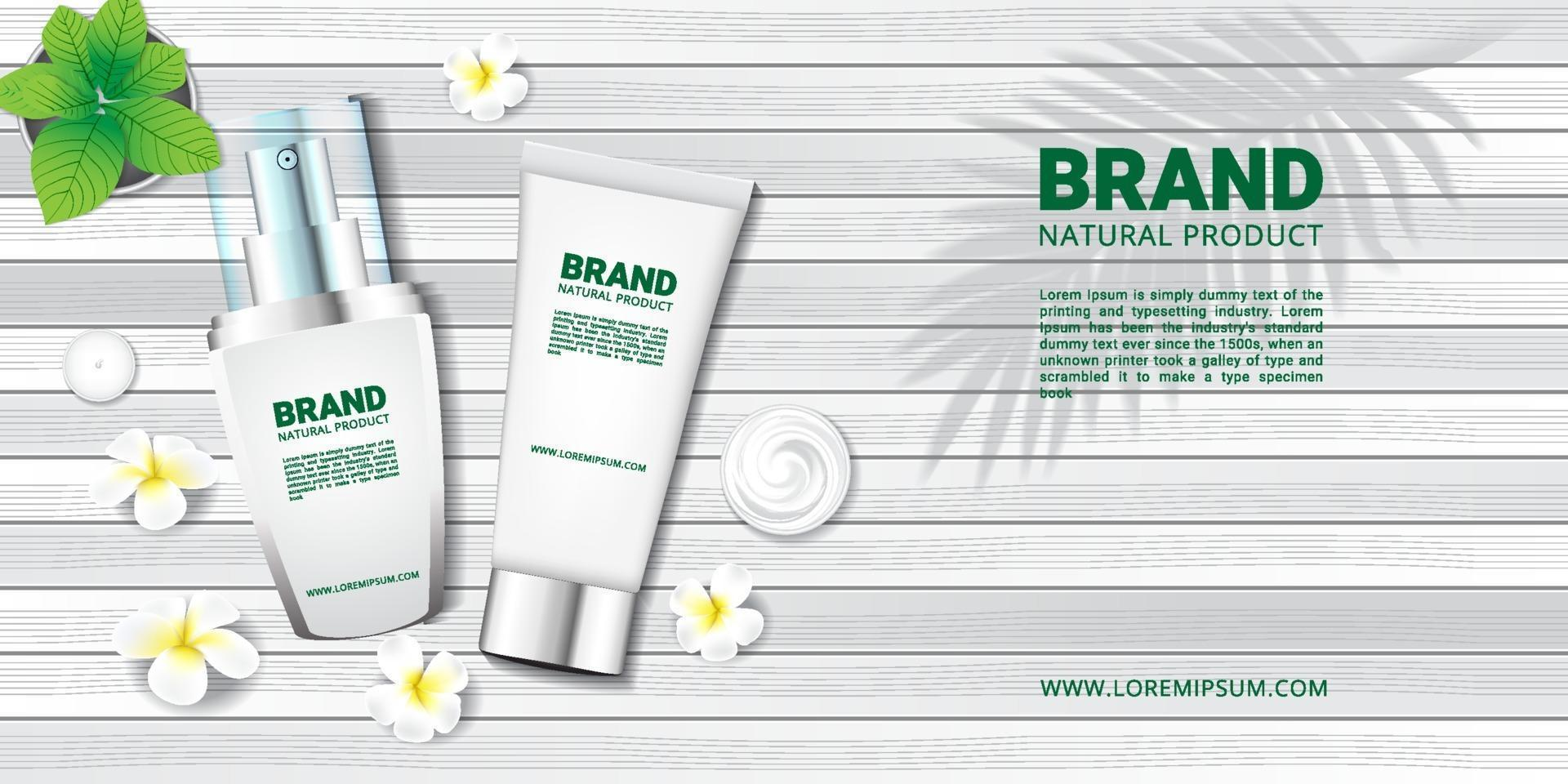 Cosmetic and spa on white wood floor and flower for advertisement vector