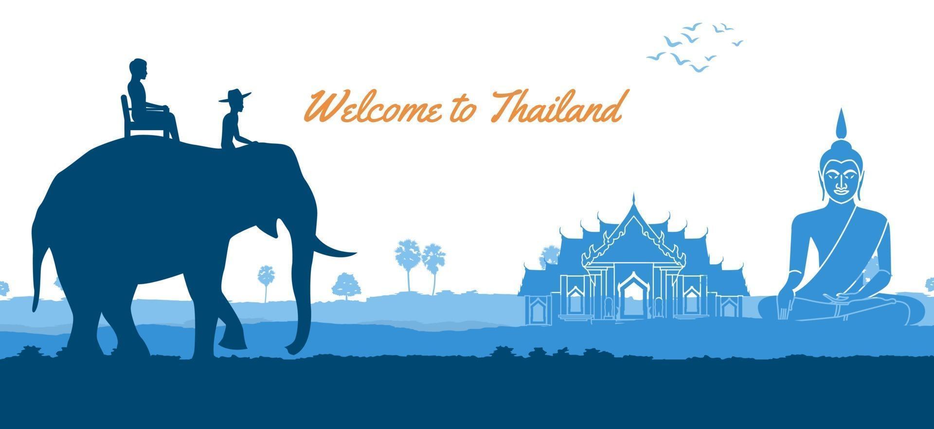 Thailand travel and Buddha Thai temple vector