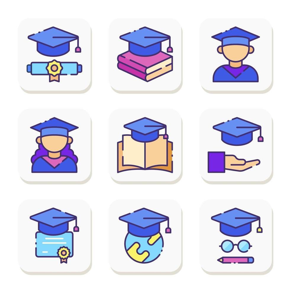 Graduation Icon Collection vector