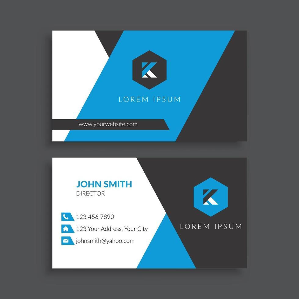 plantilla de tarjeta de visita futurista azul y negro vector