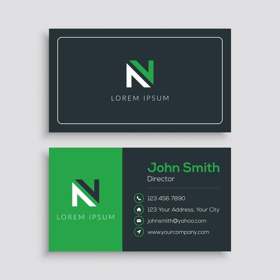 plantilla de tarjeta de visita moderna verde y negro vector