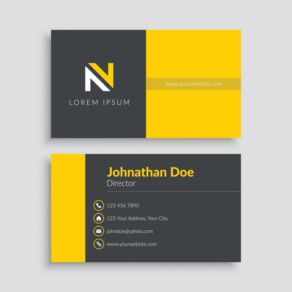 plantilla de tarjeta de visita minimalista amarilla vector