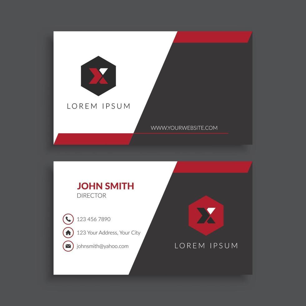 plantilla de tarjeta de visita futurista roja y negra vector