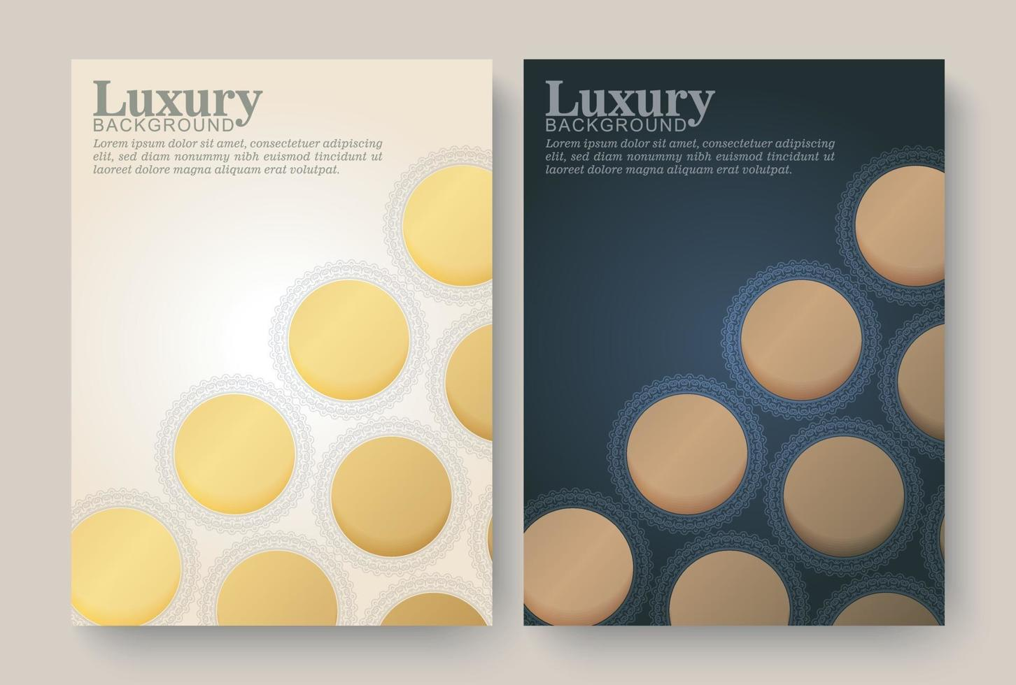 Luxury gold border pattern cover template vector