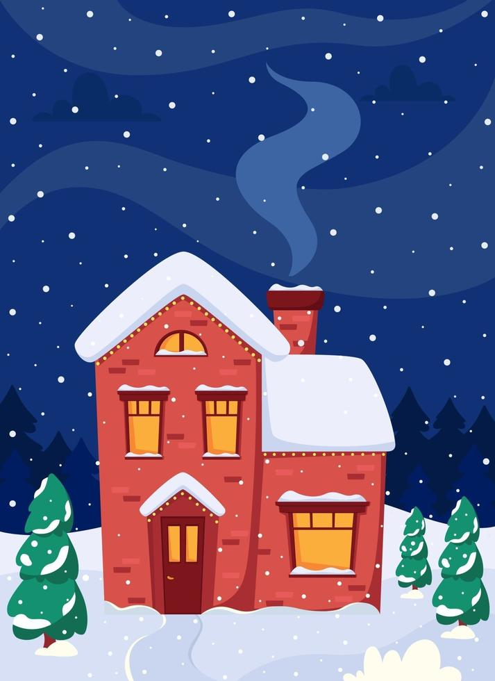 Winter landscape with house, fir-trees, moon. Vector illustration.