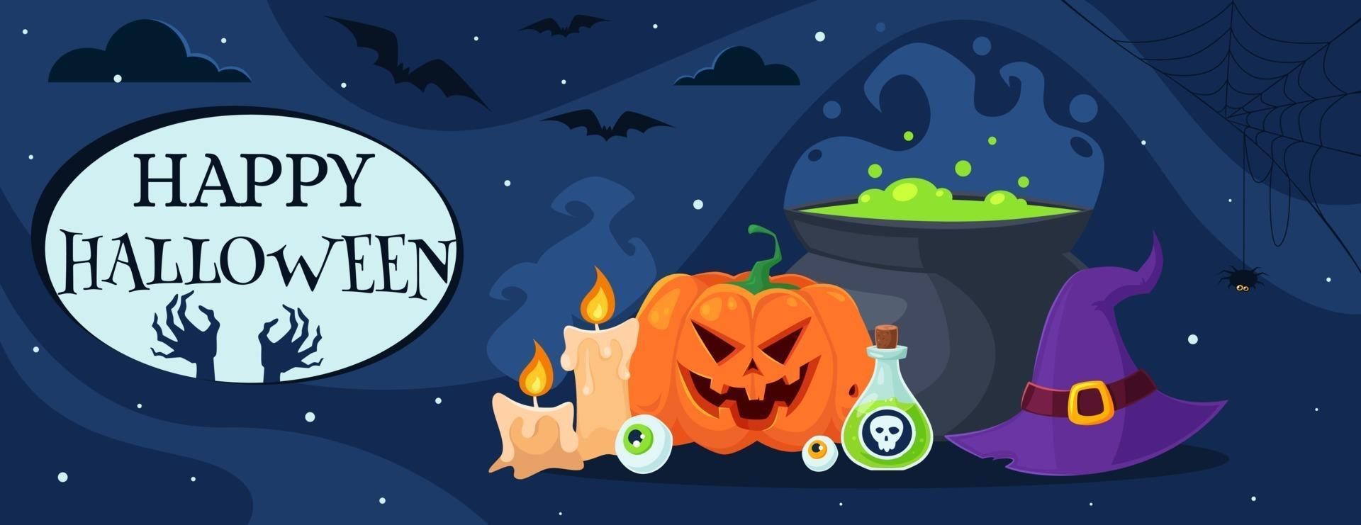 Happy Halloween greeting card with pot, witch hat, potion, candles, eye. Vector illustration