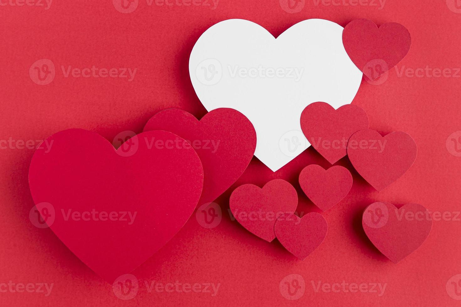 arreglo de corazones de vista superior con espacio de copia foto
