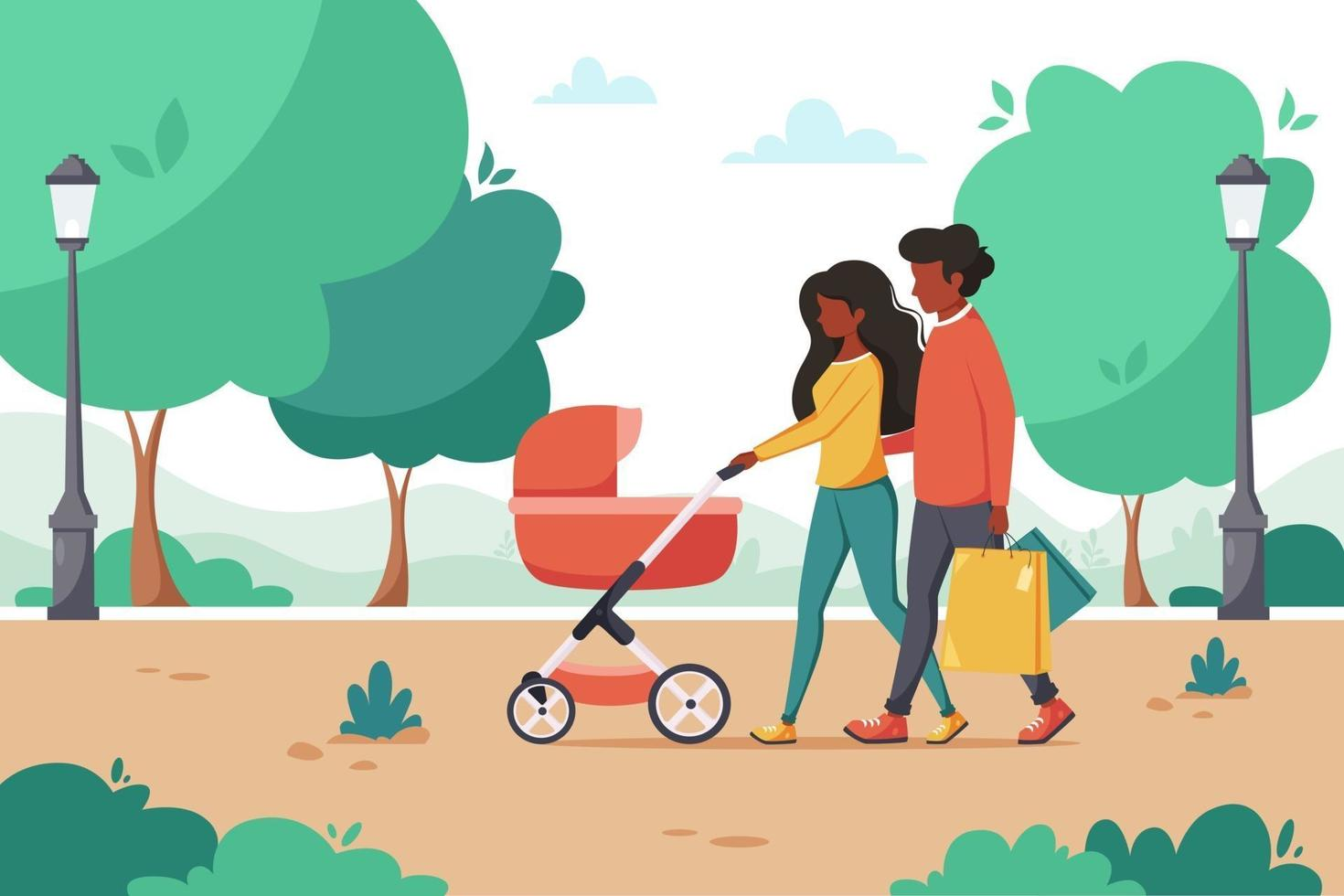 Black family with baby carriage walking in the park. Outdoor activity. Vector illustration
