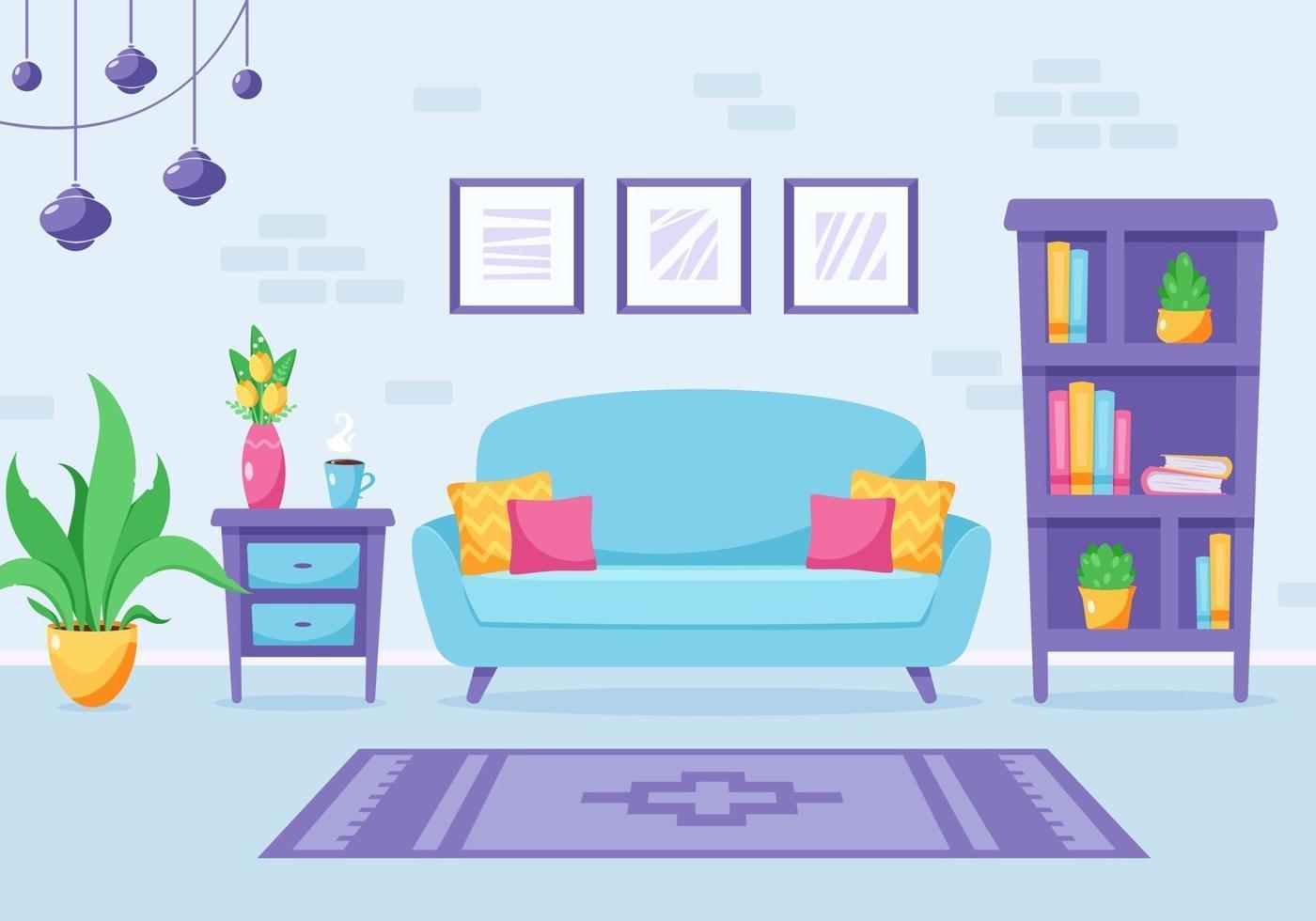 Modern living room interior design. Loft apartment. Vector illustration