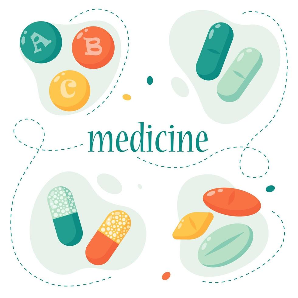 Set of pills. Medicine and pharmaceuticals concept. Multi-colored pills. Vector illustration in a flat style.