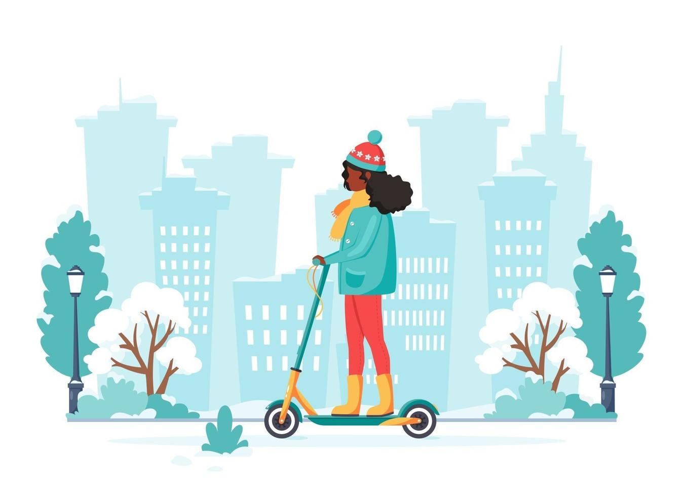 Black woman riding electric kick scooter in winter. Eco transport concept. Vector illustration