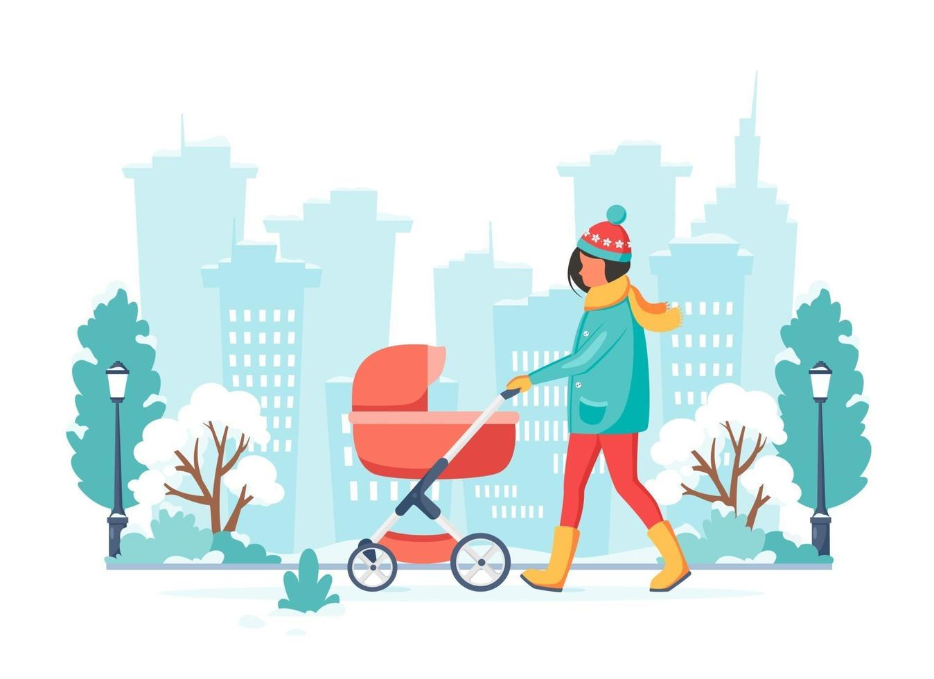 Woman walking with baby carriage in winter. Outdoor activity. Vector illustration.