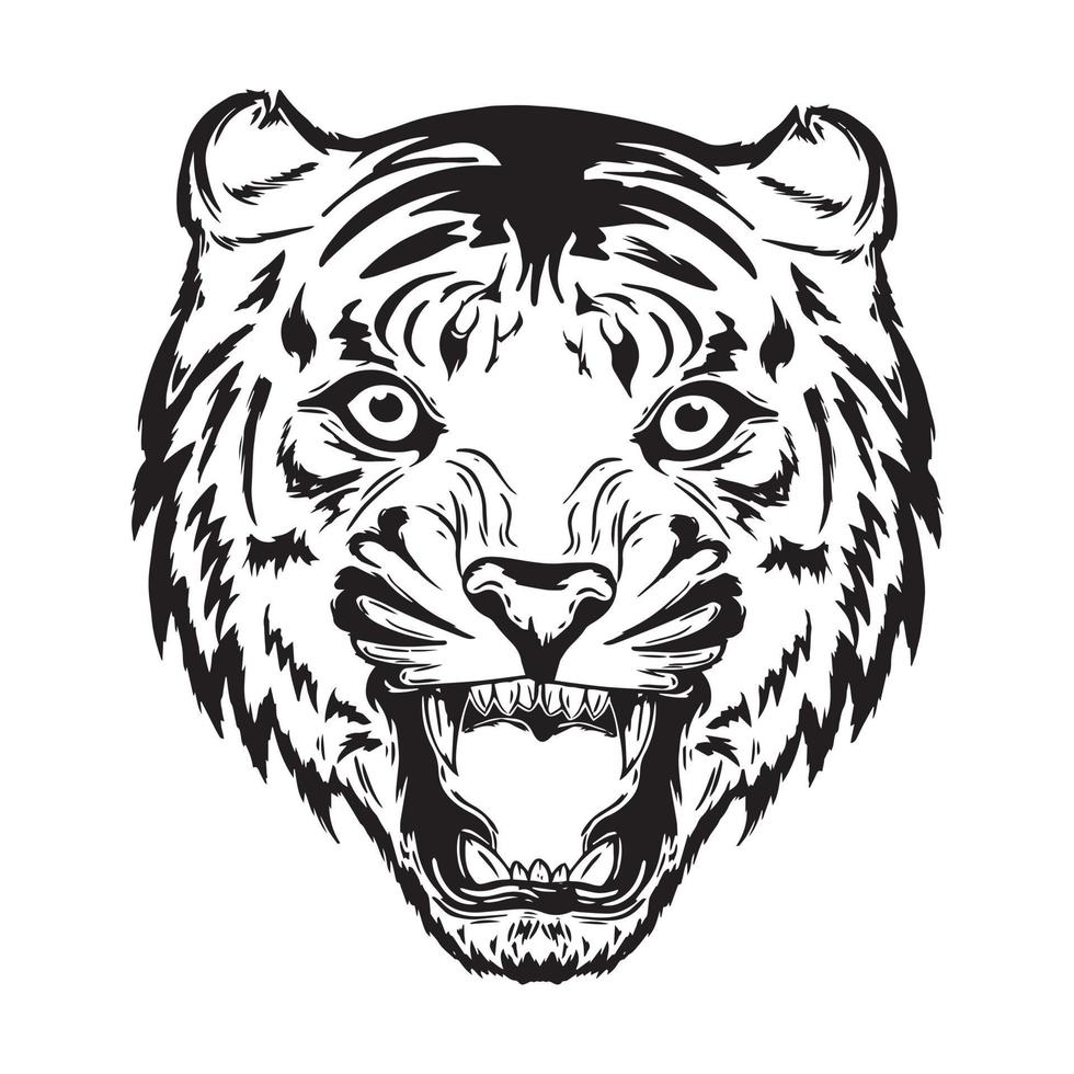 vector illustration of tiger head opening its mouth
