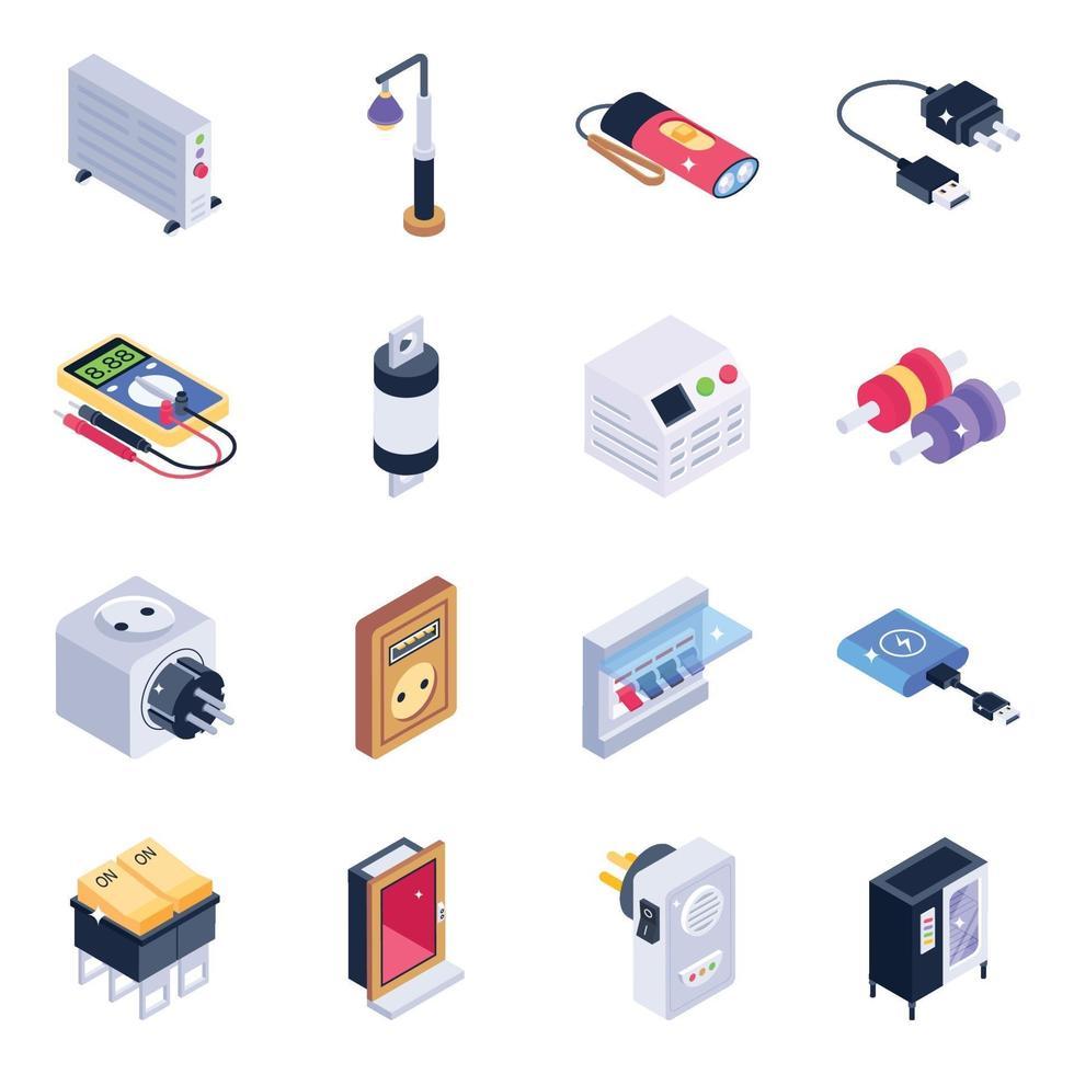 conjunto de iconos isométricos de herramientas de tecnología vector