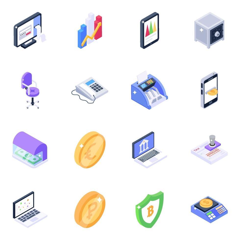 máquina bancaria y conjunto de iconos isométricos de infografías móviles vector